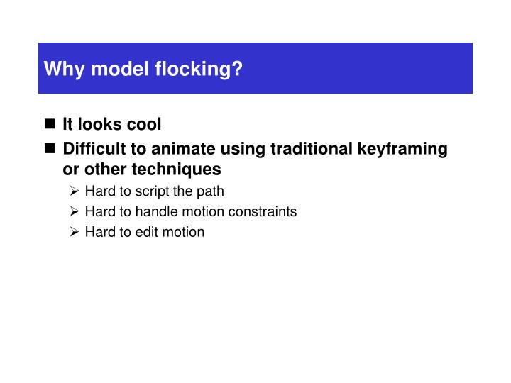 Why model flocking?