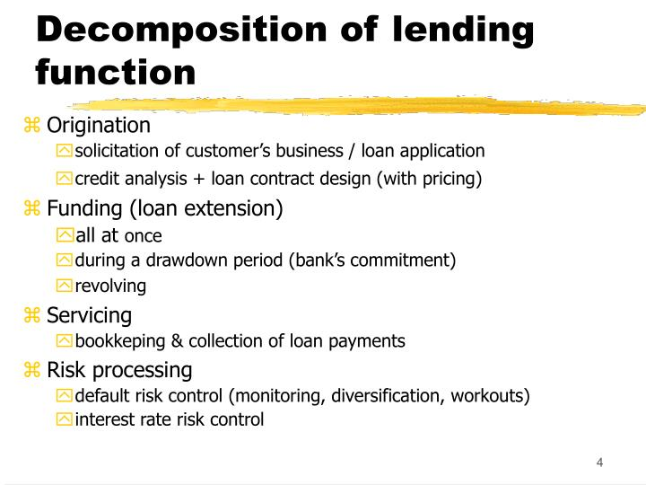 Decomposition of lending function