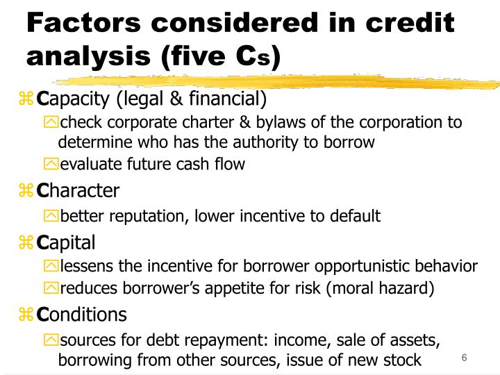 Factors considered in credit analysis (five C