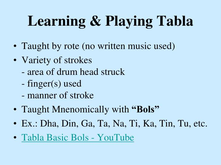 Learning & Playing Tabla