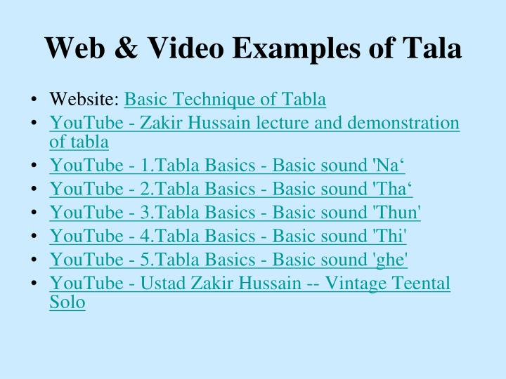 Web & Video Examples of Tala