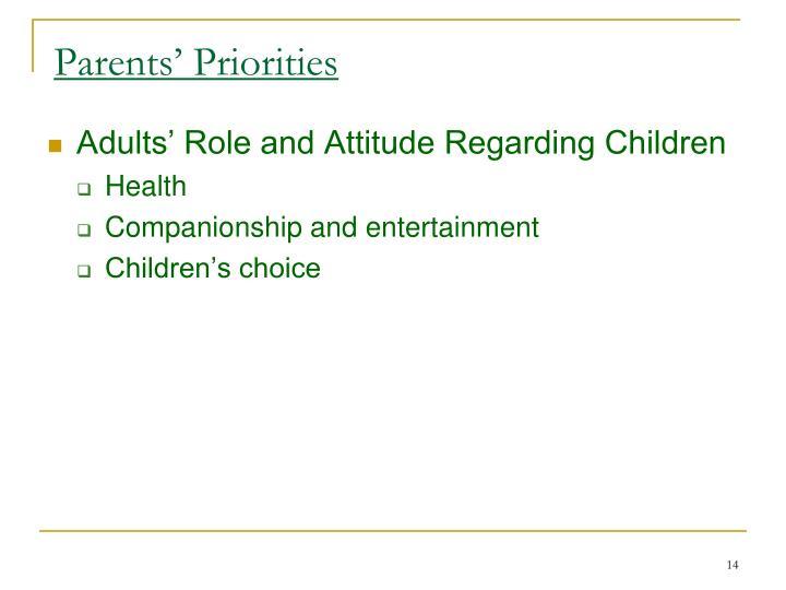 Parents' Priorities