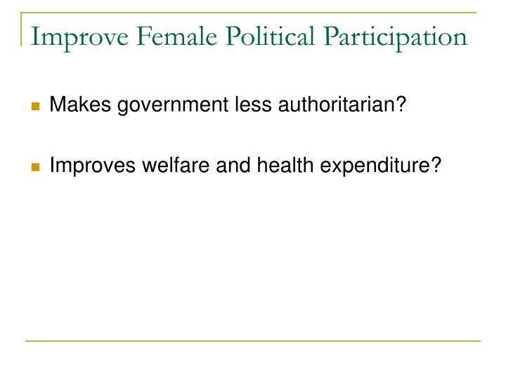 Improve Female Political Participation