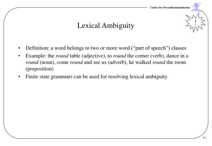 Ppt Lexical Ambiguity Powerpoint Presentation Id3789226