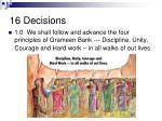 16 decisions