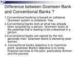 difference between grameen bank and conventional banks