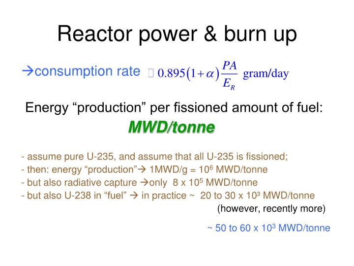 Reactor power & burn up