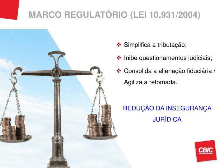 MARCO REGULATÓRIO (LEI 10.931/2004)