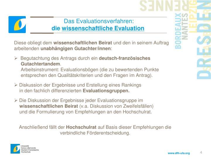 Das Evaluationsverfahren:
