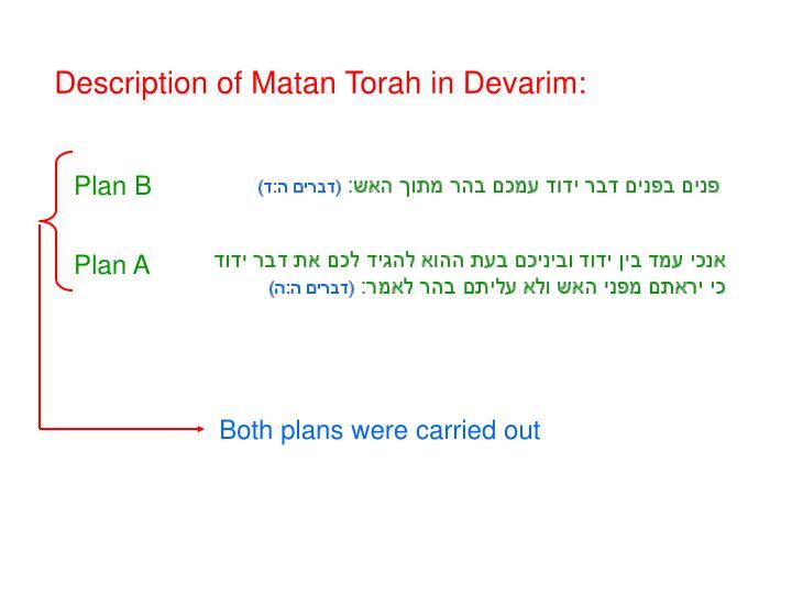 Description of Matan Torah in Devarim: