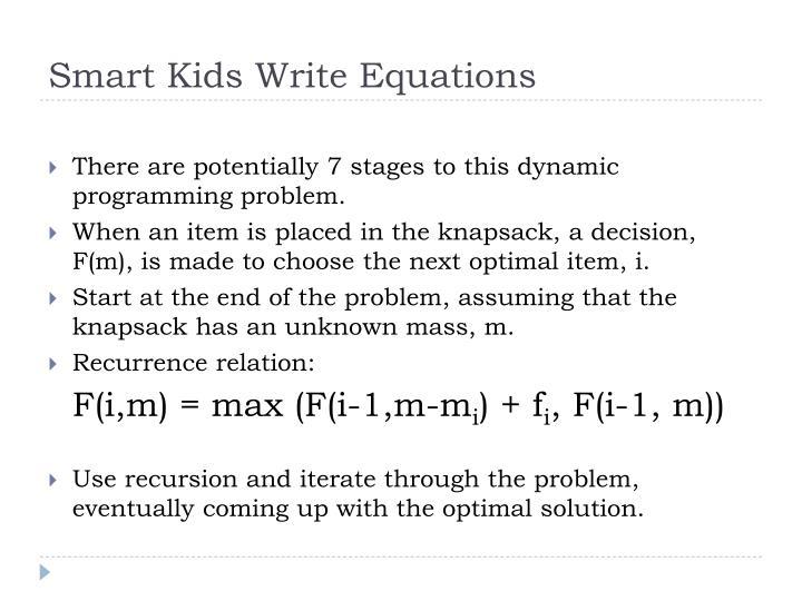 Smart Kids Write Equations