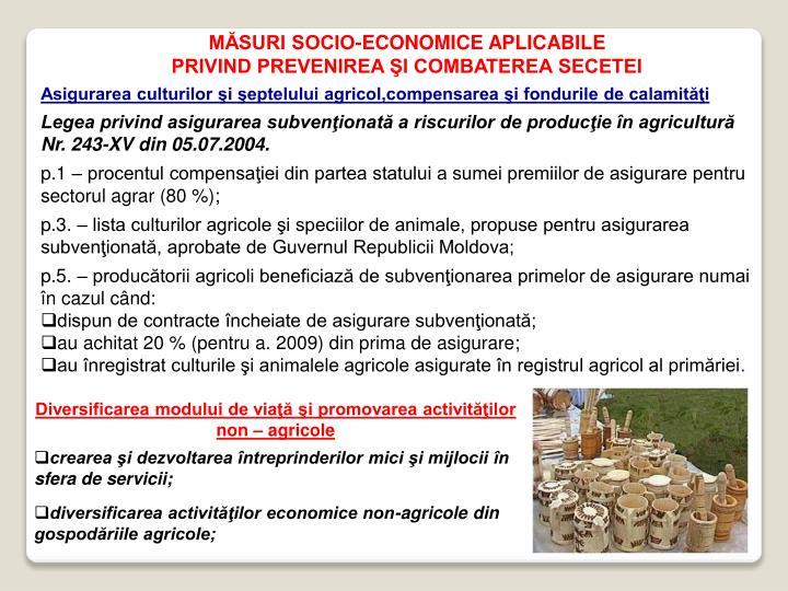 MĂSURI SOCIO-ECONOMICE APLICABILE