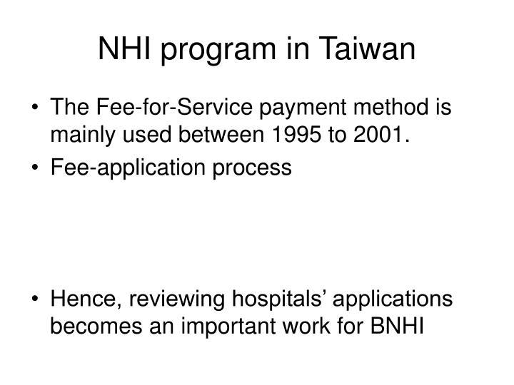 NHI program in Taiwan