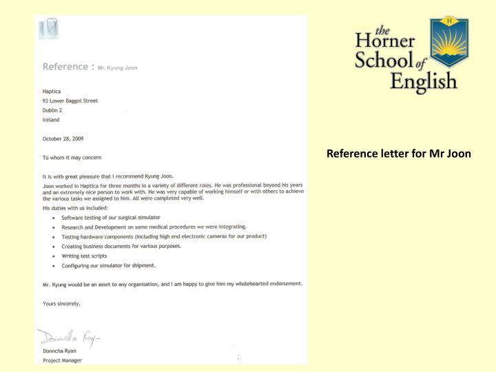Reference letter for Mr Joon