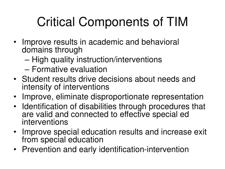 Critical Components of TIM