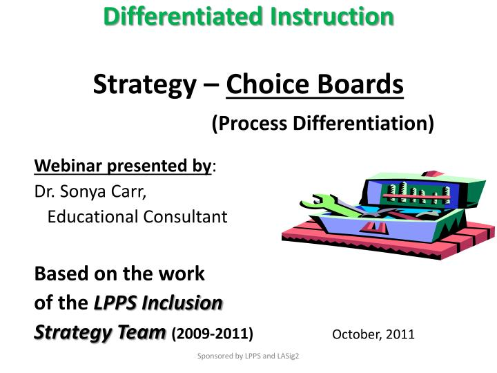 Ppt Differentiated Instruction Strategy Choice Boards Process
