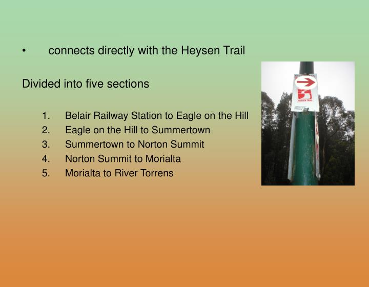 connects directly with the Heysen Trail