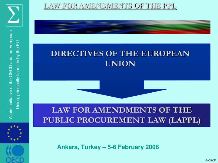 LAW FOR AMENDMENTS OF THE PPL