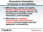 biomedical informatics corollaries to the definition