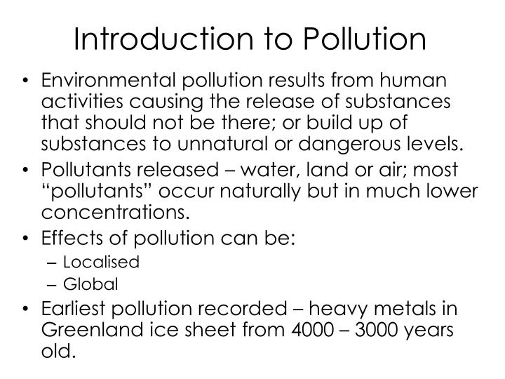 Introduction to pollution