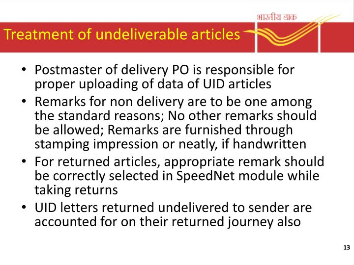 Treatment of undeliverable articles