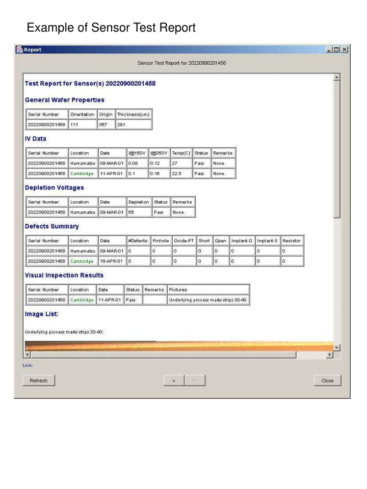 Example of Sensor Test Report