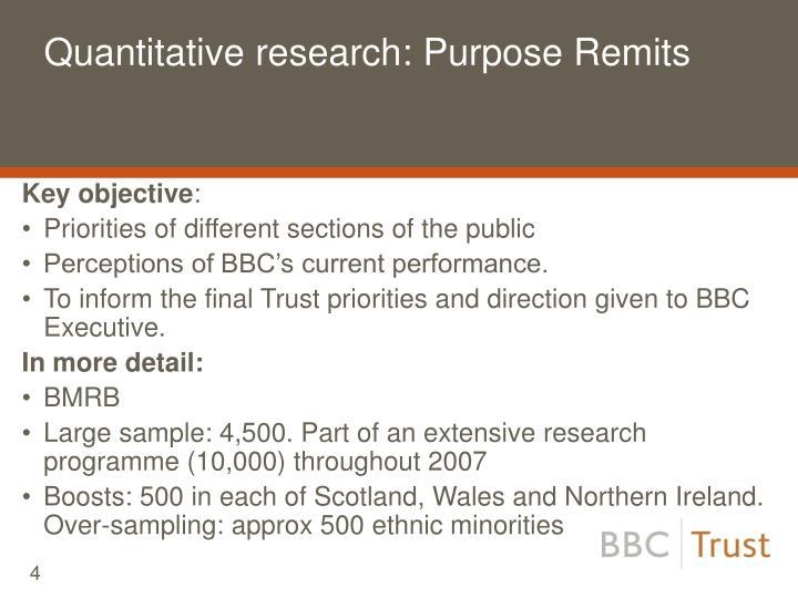 Quantitative research: Purpose Remits