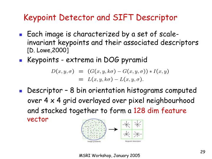 Keypoint Detector and SIFT Descriptor