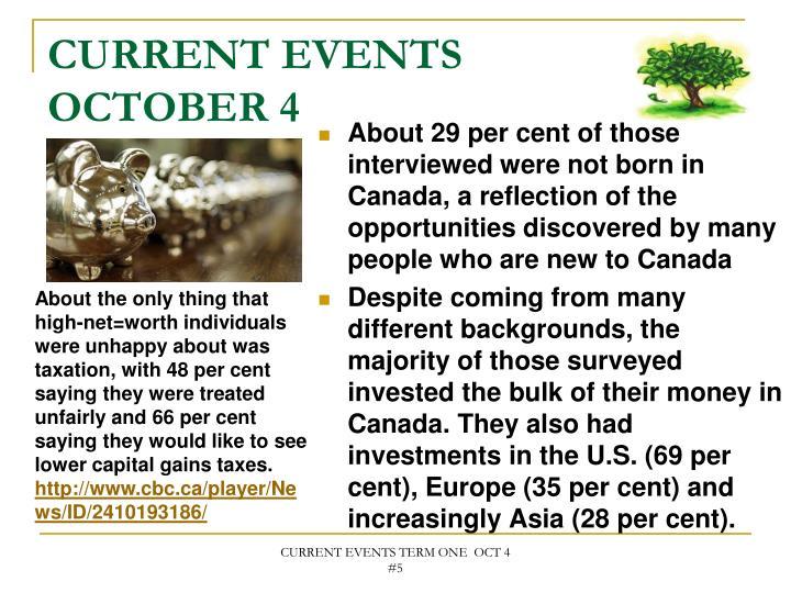 CURRENT EVENTS OCTOBER 4