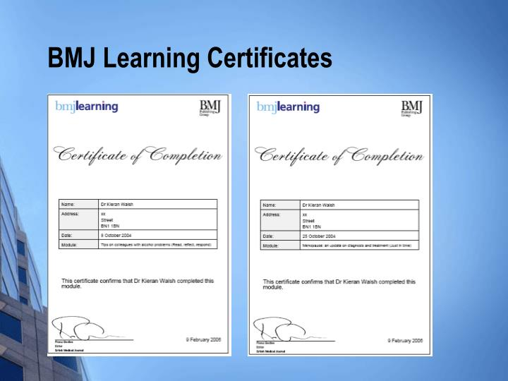 BMJ Learning Certificates
