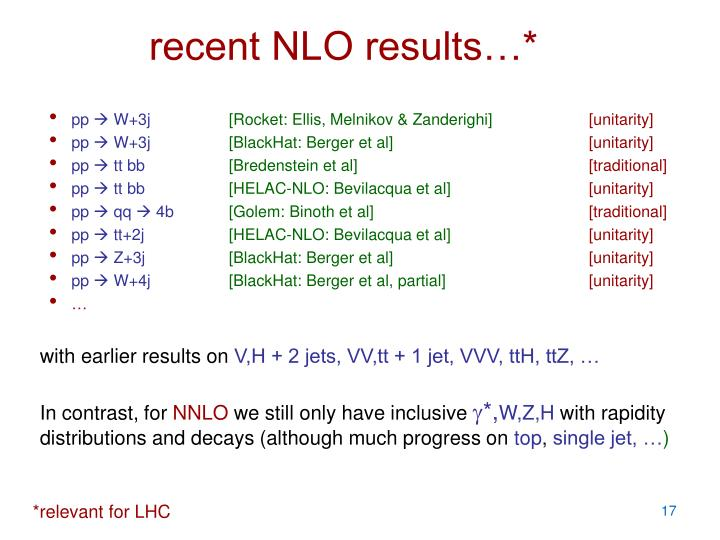 recent NLO results…*