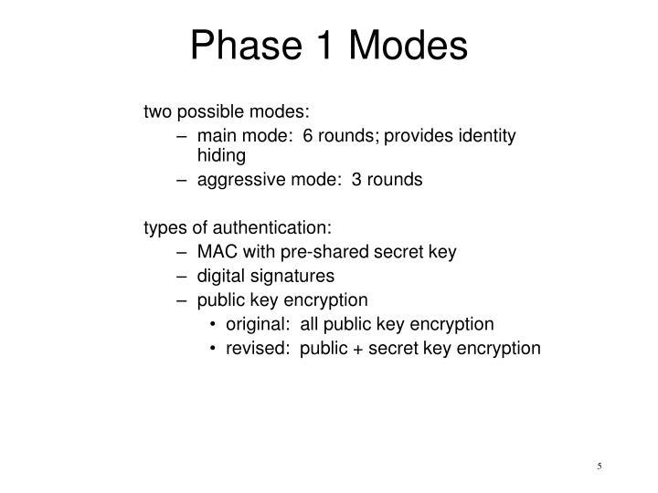 Phase 1 Modes