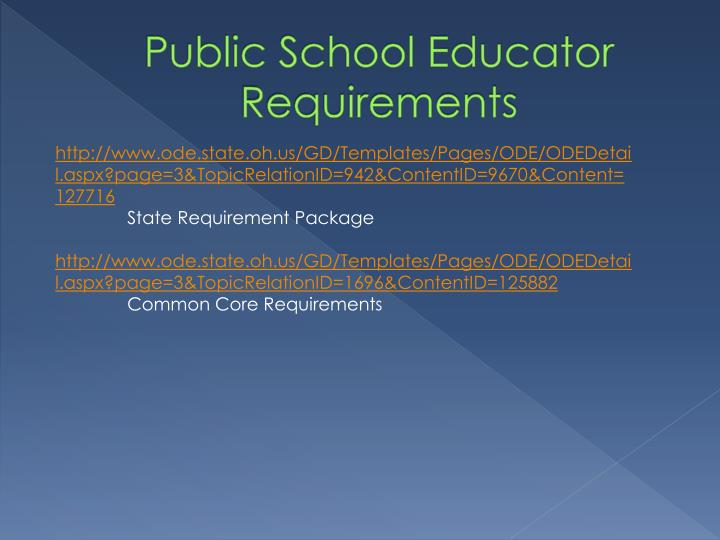 Public School Educator Requirements