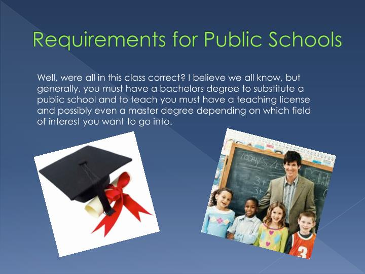 Requirements for Public Schools