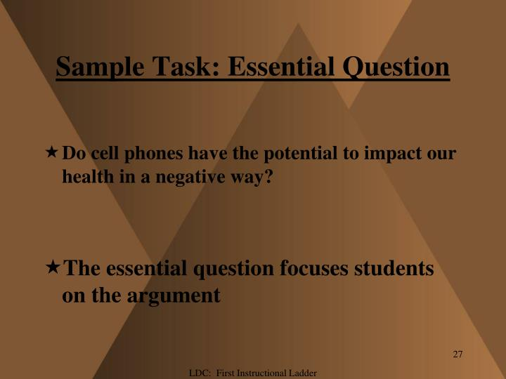 Sample Task: Essential Question