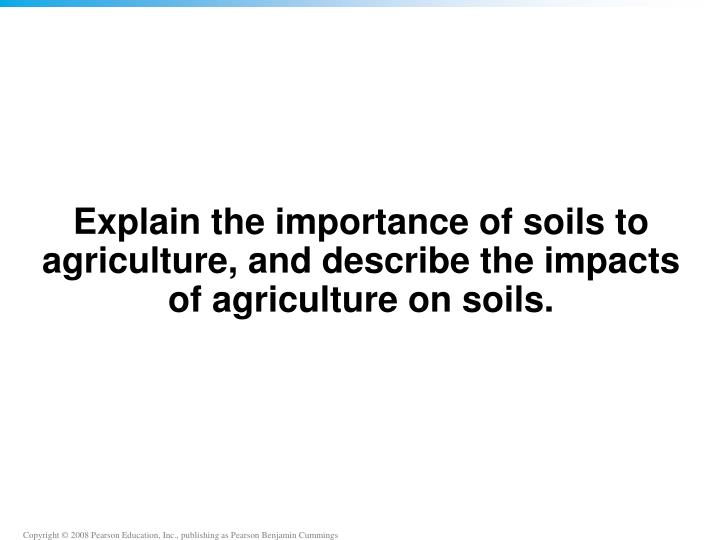 Explain the importance of soils to agriculture, and describe the impacts of agriculture on soils.