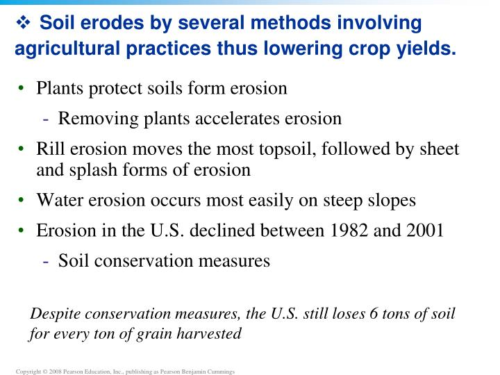 Soil erodes by several methods involving agricultural practices thus lowering crop yields.