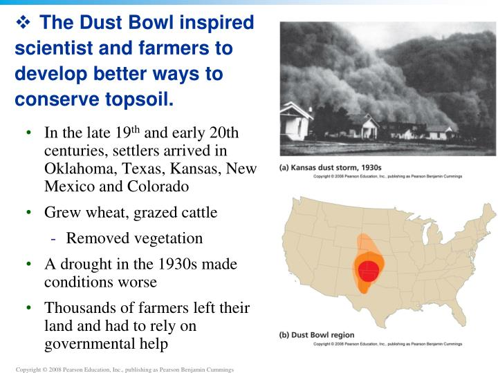 The Dust Bowl inspired scientist and farmers to develop better ways to conserve topsoil.