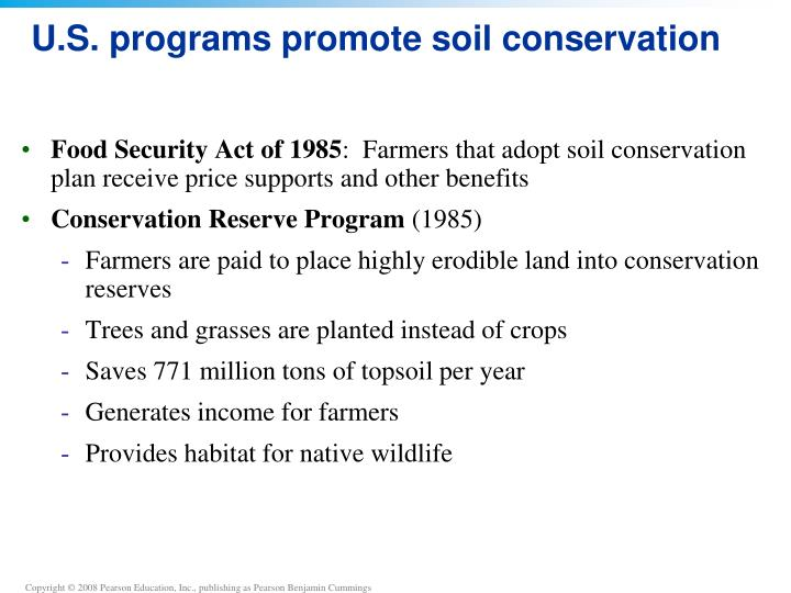 U.S. programs promote soil conservation