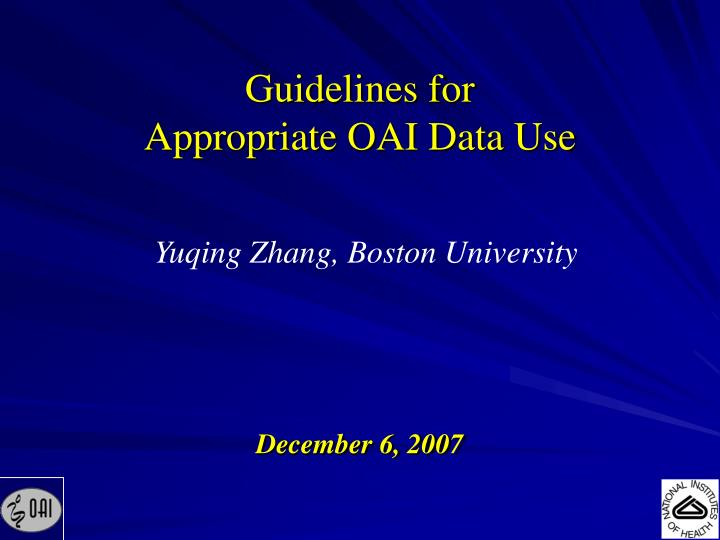 guidelines for appropriate oai data use n.