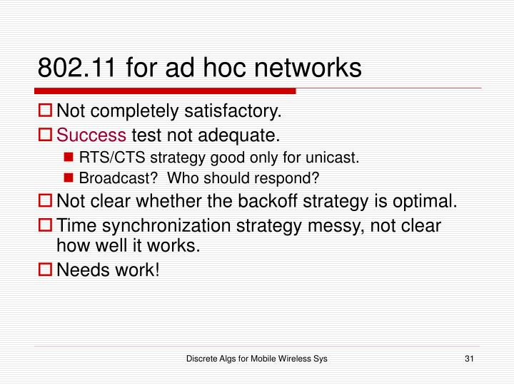 802.11 for ad hoc networks