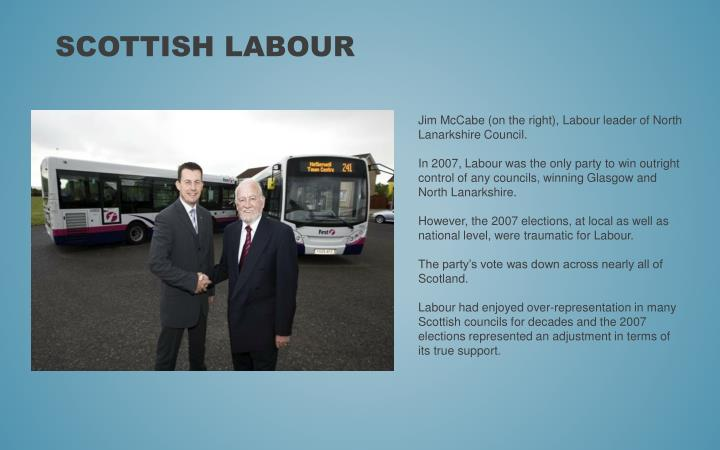 Jim McCabe (on the right), Labour leader of North Lanarkshire Council.