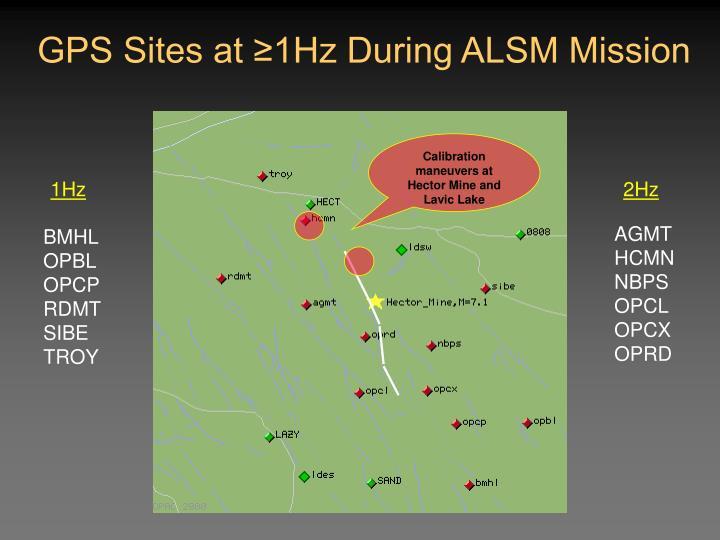 GPS Sites at ≥1Hz During ALSM Mission