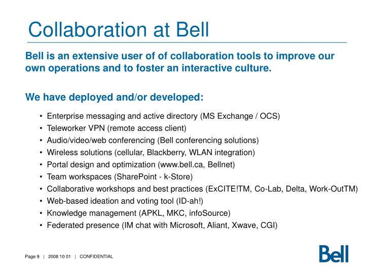 Collaboration at Bell
