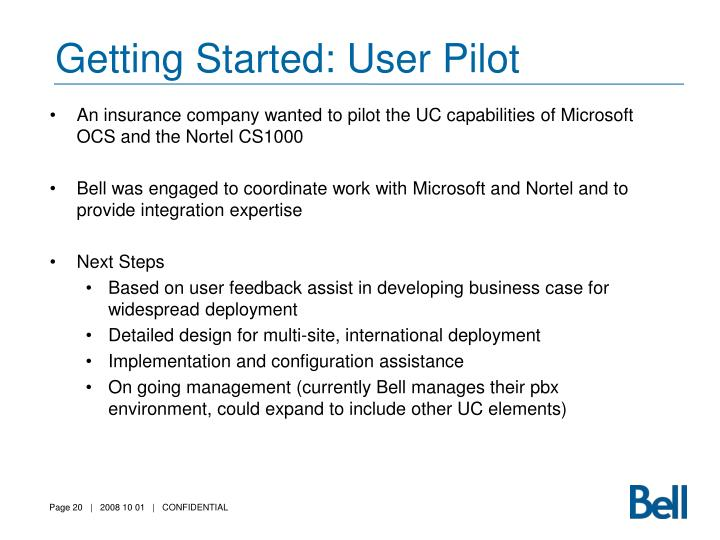 Getting Started: User Pilot
