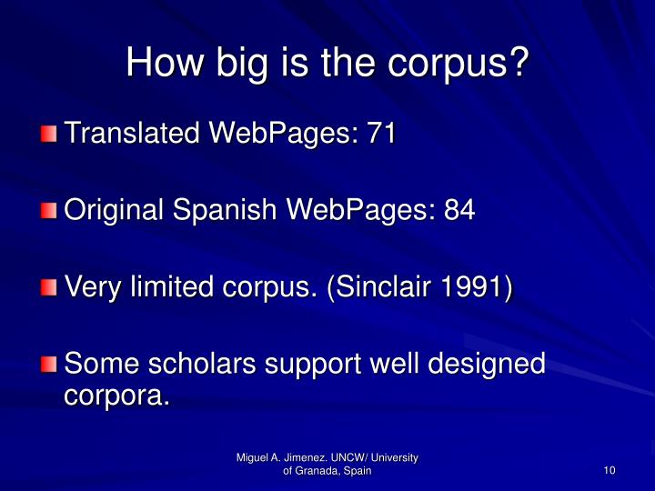 How big is the corpus?