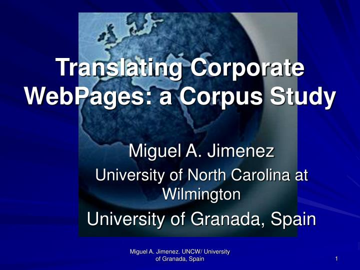 Translating corporate webpages a corpus study