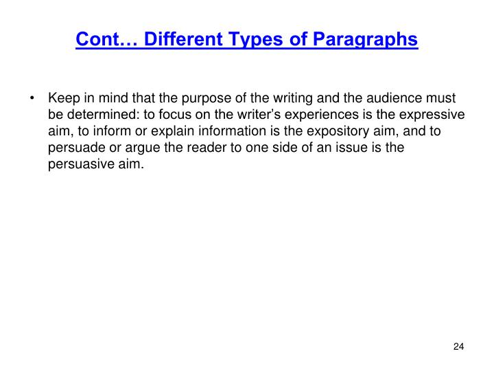 Cont… Different Types of Paragraphs