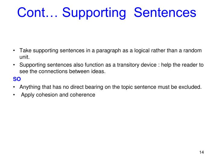 Cont… Supporting  Sentences