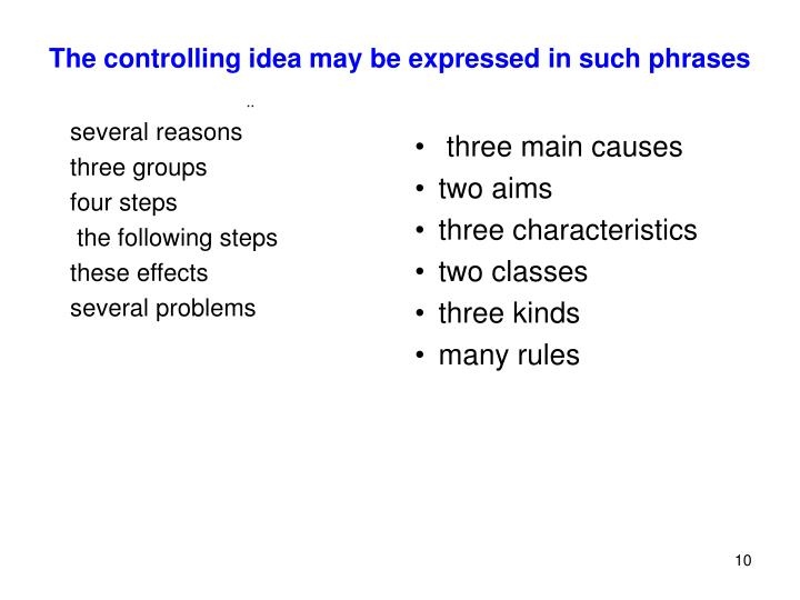 The controlling idea may be expressed in such phrases